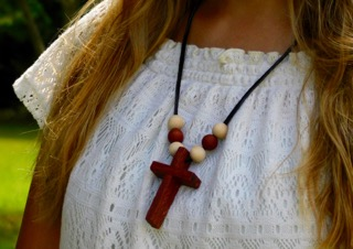 WOODEN CROSS W/6 BEADS